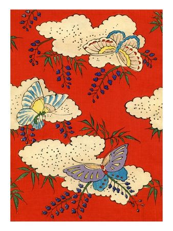Illustration of Butterflies on Red and White Background Gicleetryck