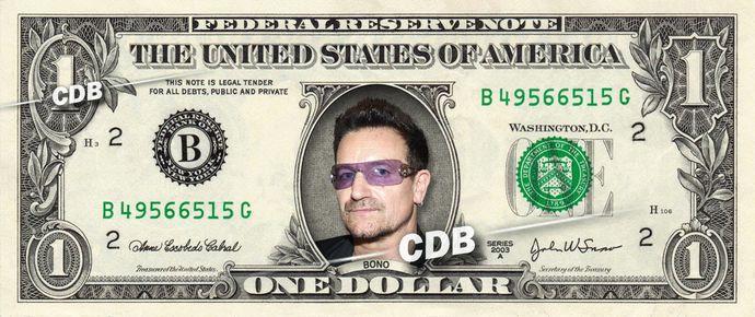 Bono U2 – Real Dollar Bill Cash Money Collectible Memorabilia Celebrity Novelty