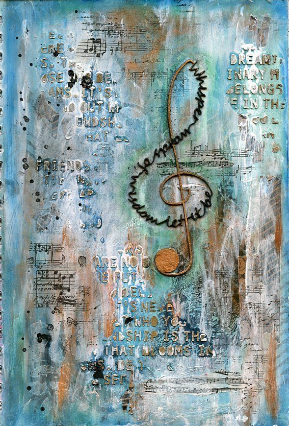 Whispered Words of Wisdom art journal page by Jill Wheeler, featuring Scrap FX products: Whisper Words Clef chipboard, Words of Wisdom stencil,…