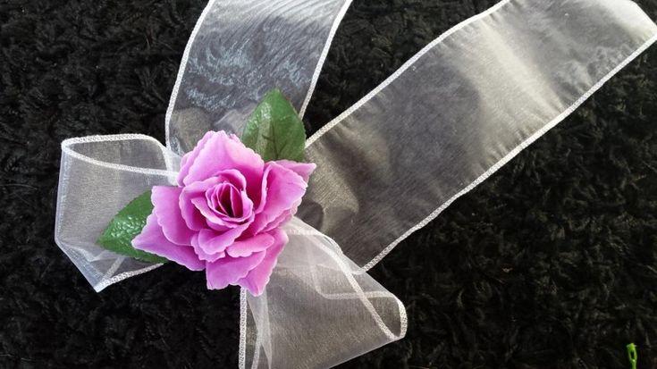 Mašla biela organza s fialovou ružičkou