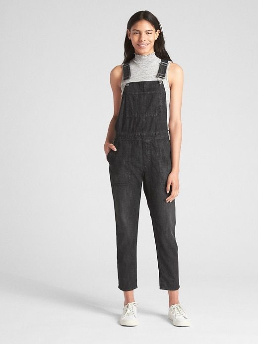c2585f8e7ae0 Gap Womens Relaxed Denim Overalls True Black