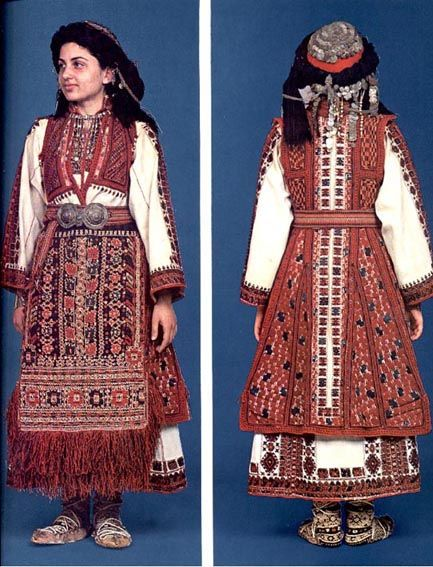 Traditonal festive costume from the district of Kozani (Greek Macedonia). Clothing style: rural, early 20th century.