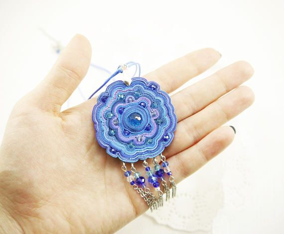 Boho necklace with fringe Boho jewelry Blue necklace Polymer clay jewelry for her