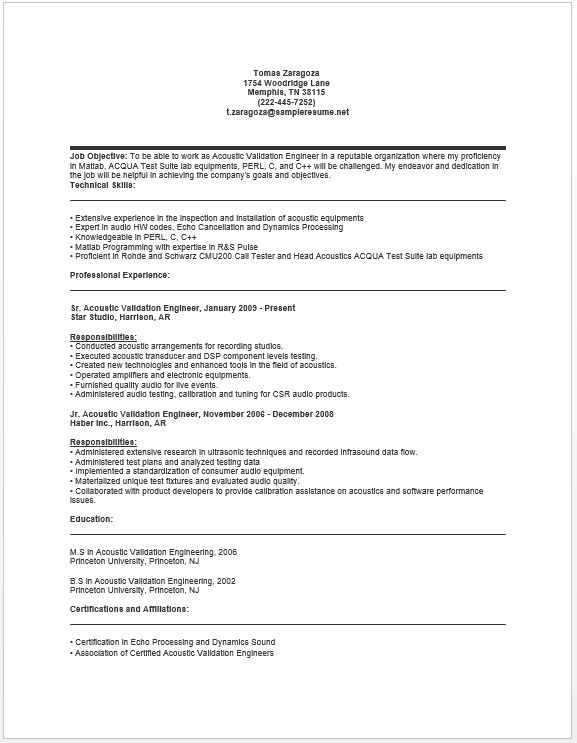 Acoustic Validation Engineer Resume resume sample Pinterest - calibration manager sample resume