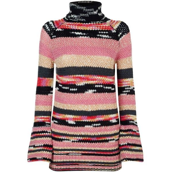 Missoni Chunky Intarsia Knit Jumper found on Polyvore featuring tops, sweaters, knit sweater, chunky knit jumper, stripe top, red top and chunky knit sweater