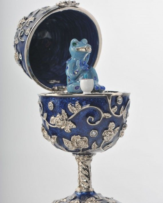Blue Faberge Egg with Frog Inside
