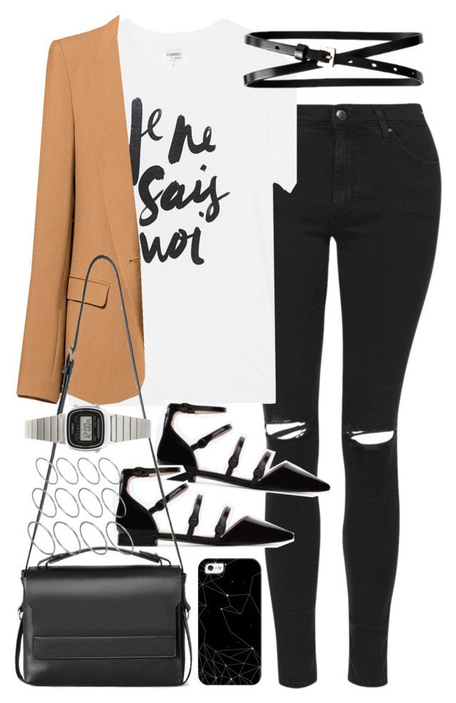 """""""Outfit with jeans and a blazer"""" by ferned on Polyvore featuring Topshop, Sincerely, Jules, Zara, Banana Republic, AllSaints, Casio, ASOS and Casetify"""