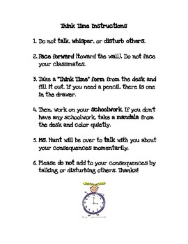 Think Time Timeout Instructions and Behavior Form | Instructional