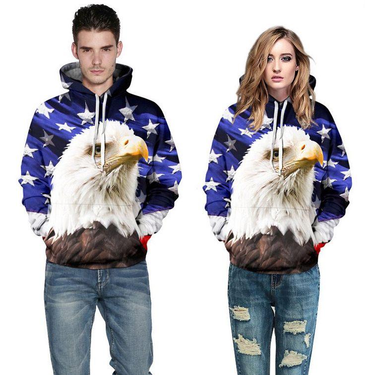 3 D Unisex  Hooded Sweatshirt  Eagle American Flag apparel