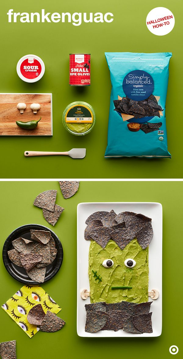 """This Halloween appetizer couldn't be easier and more exciting. Meet Frankenguac. He's made with Archer Farms Pre-Made Guacamole, Simply Balanced Blue Corn Chips and some fresh fixings for the details. Use mushrooms for the neck bolts and sliced peppers for the mouth and scars. Plus, sour cream and black olives for the eyes. Your guests will be saying, """"Me. Want. Some. Me. Want. Now."""""""
