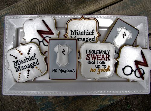 Harry Potter Baby Shower Cookies- seriously say the word and I will throw u a Harry potter baby shower!!! Lol love love love!!