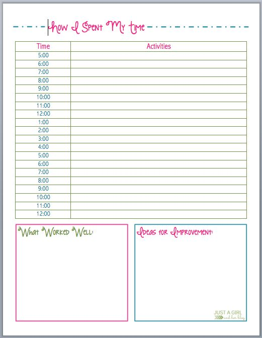 Worksheet Time Tracking Worksheet 1000 images about perfectly printable freebies on pinterest how i spent my time by just a girl and her blog