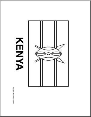 flag kenya line drawing of kenyan flag to color
