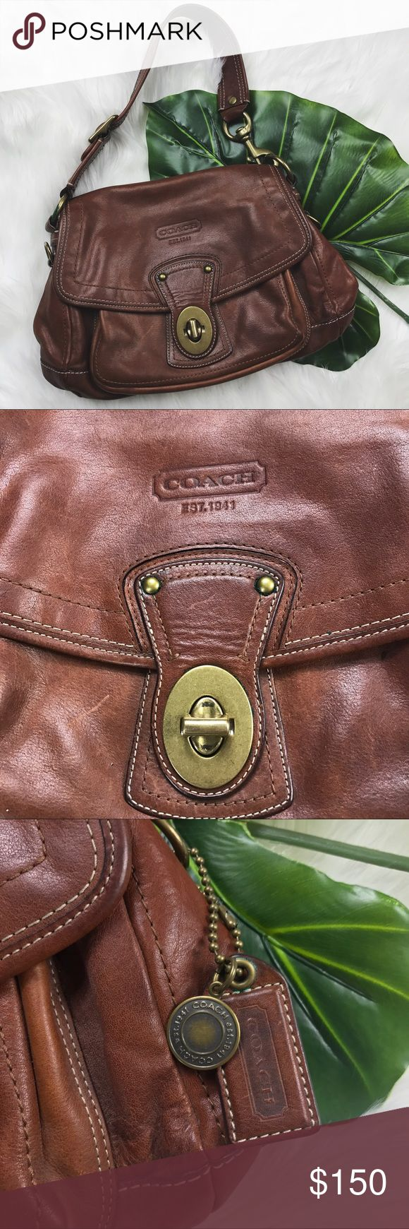 "RARE Coach 65th Anniversary Legacy Shoulder Bag This Coach purse is made of heavy quality leather in the shade ""whiskey"". Shows light signs of wear on exterior & some discoloration that might be able to be spot cleaned. Coach Bags Shoulder Bags"