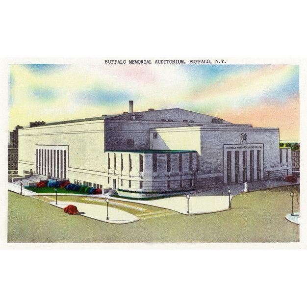 Buffalo, NY - Buffalo Memorial - Vintage Halftone (Chef's Cotton/Poly Apron), Blue wash