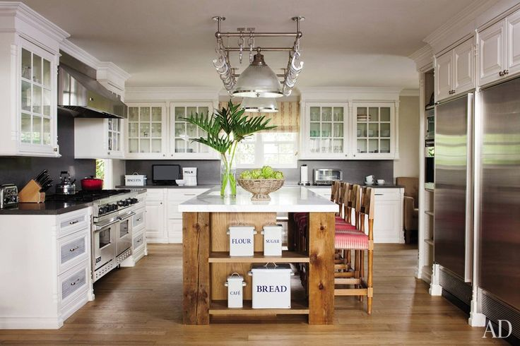 Hank Azaria's Kitchen with french oak floors and stainless-steel appliances