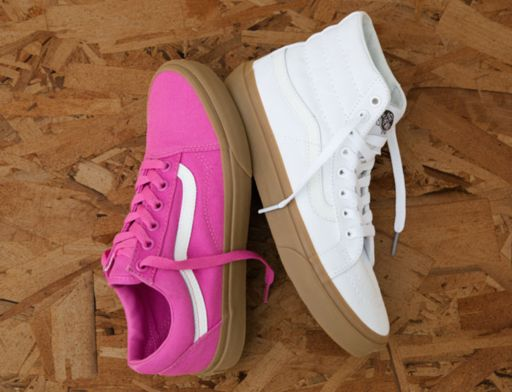 Go natural with the Light Gum Old Skool & Sk8-Hi Slim.