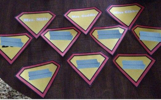Superhero name tags.