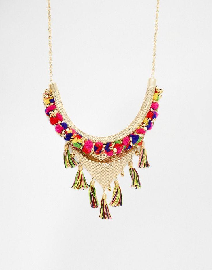 Image 1 ofGlamorous Pom Pom & Tassel Necklace