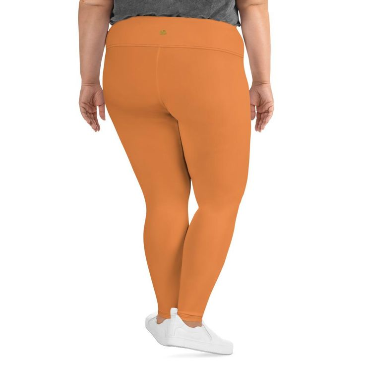 Shiba Honey Orange Solid Color Women's Plus Size Leggings- Made in USA (US Size: 2XL-6XL) 2