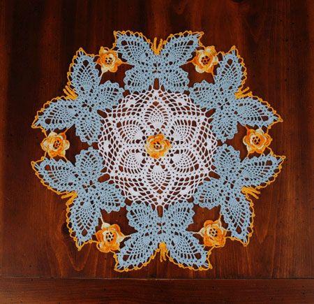 Beautiful Crocheted Butterfly Doily