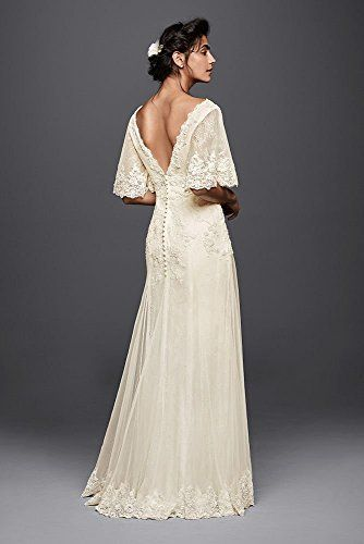 #!  Lace Melissa Sweet Wedding Dress with Flutter Sleeves Style MS251133, Ivory, 6