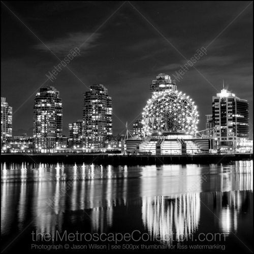 Black and White Photos of The TELUS Science World Dome Reflects Off of False Creek - Metroscap.com