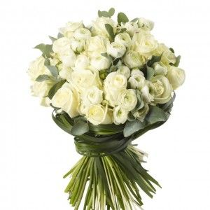 Rose and Ranuncula Bouquet - White Avalanche Roses and White Ranunculas.