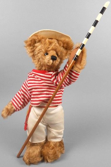 """Adopt a Bear todayAntonio by: Ginnie Merigold 13"""" fully jointed mohair bear, poly stuffed Striped shirt, white pants, straw hat and gondolier pole. Original paper tag."""