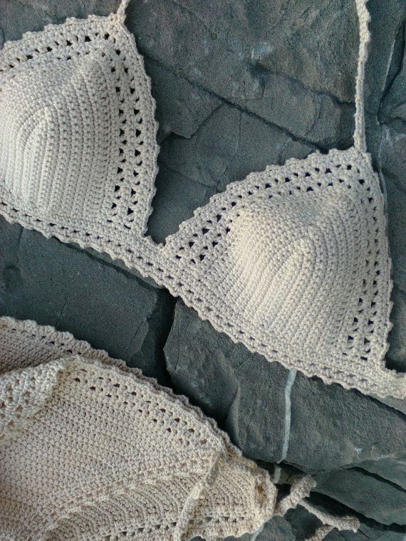 crochet bikini Pale cream Crochet Vintage by GoodMoodCreations