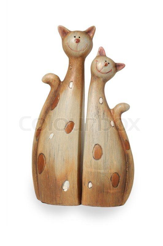 Stock foto af 'To ler sjove forelsket katte isoleret på hvid baggrund'