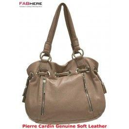pierre cardin - Taupe Soft Italian Leather double handle handbag