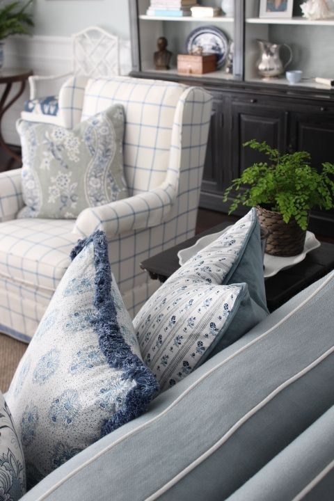Melinda Hartwright Interiors: Blue And White, Contrast Piping, Custom Cushions. Living
