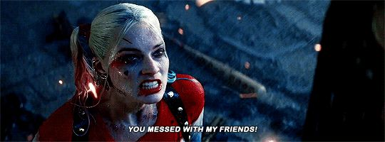 """harleyquinnsquad: """"Rule #1: Don't mess with Harley's friends. """" DC Comics - Harley Quinn - Harleen Quinzel - Suicide Squad"""