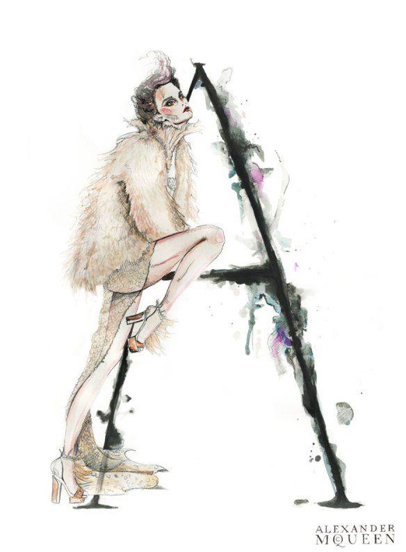 Beautiful watercolour fashion illustration of Alexander McQueen couture - delicate fashion drawing // Natalia Jhete