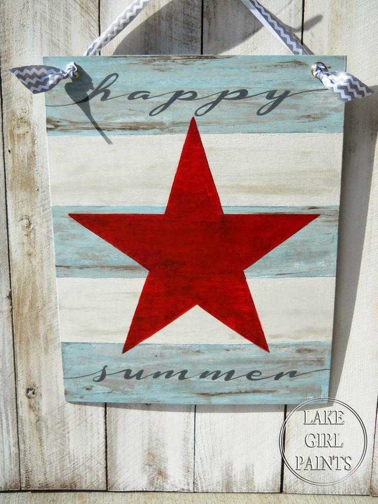 Lake Girl Paints: Happy Summer Star Canvas ~ shared at DIY Sunday Showcase Link Party on VMG206 (Saturdays at 5pm CST). #diyshowcase