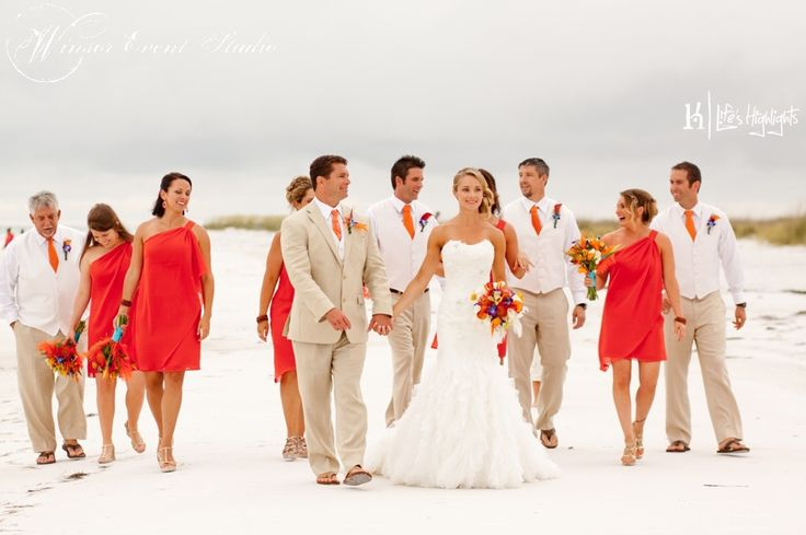 Bridesmaids In Orange Chiffon Cocktail Dresses And Groomsmen In Khaki Pants With White Shirts