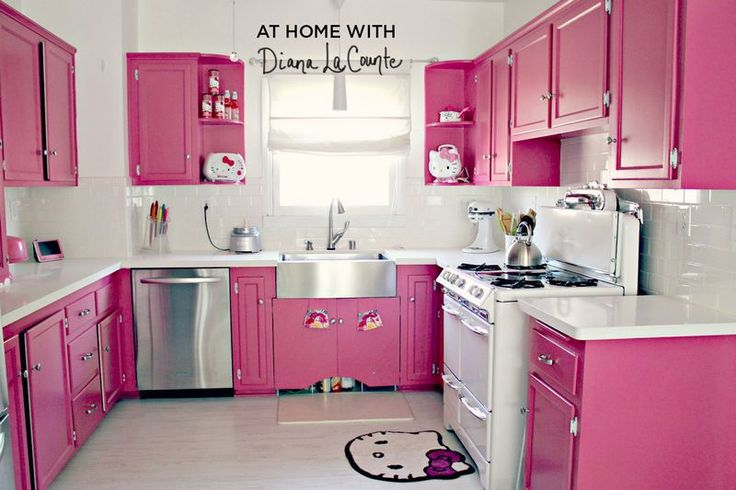 At Home With Diana La Counte. Look at that bright pink with hello kitty decor kitchen