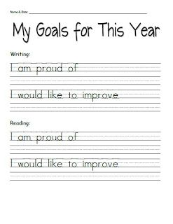 Student Goal-Setting Sheets for Parent-Teacher Conferences