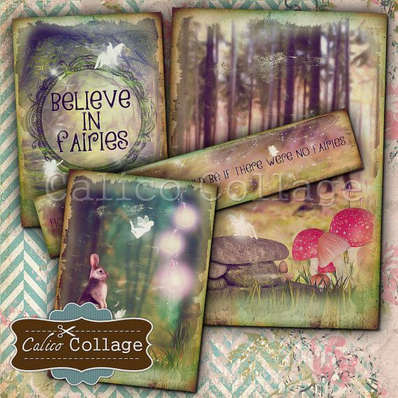 Storybook Fairies Digital Collage Sheet for Journals, Scrapbooking, Journaling Spots, Gift Tags, Decoupage Paper, Digital Download