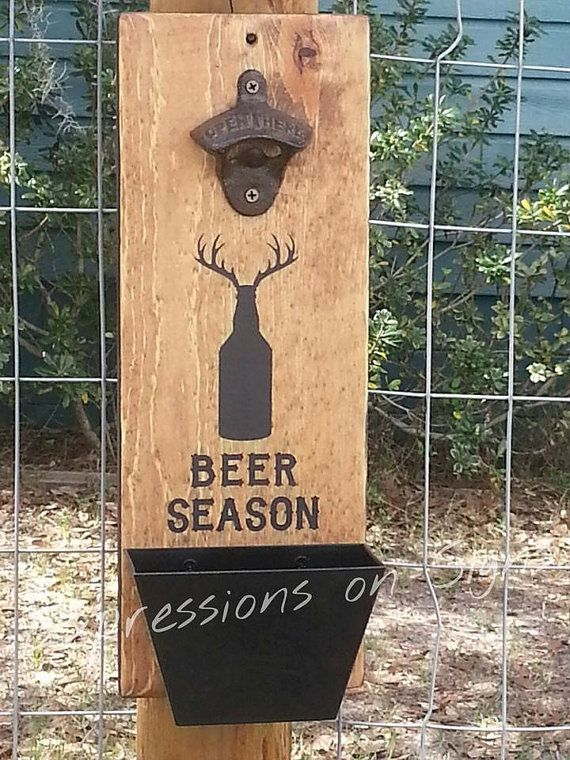 Bottle Opener with Cap Catcher Wall Mounted by ExpressionsOnSigns - I think this would look great in the garage!