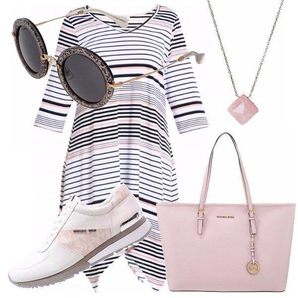 Abito a righe sportivo ma chic. Propongo un look per affrontare la giornata in maniera divertente, con abito bianco a righe nere e rosa, con scarpe da tennis rialzate per un camminare comodo e sprint. Per finire, degli occhiali da sole rotondi, divertentissimi da portare, borsa shopper rosa MK e collana sempre della stessa linea, e colore.