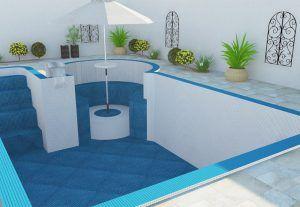 Projeto para piscina com cascata, mesa imersa e escada interna | Projeto 102