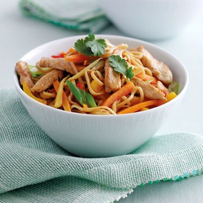 Mary Berry's Stir-fried Ginger Chicken ~ Asian-style main dish w/ julienne bell peppers, carrots, spring onions, and root ginger with noodles in a rice wine & soy sauce | recipe from the book 'Mary Berry's Cookery Course' via Red Online