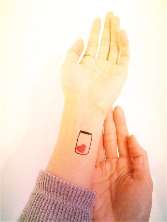 2pcs LOVE IN A JAR tattoo - InknArt Temporary Tattoo Set - pack tattoo quote wrist ankle body sticker anchor fake tattoo