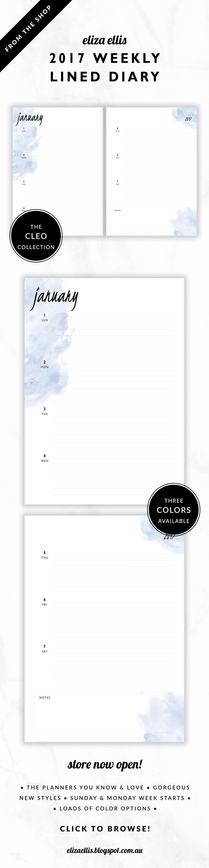 2017 Lined Weekly Diary Planner // The Cleo Collection by Eliza Ellis. Gorgeous watercolor and handwritten type design. Available in 3 colors – fairyfloss, nimbus and sherbet. Monday and Sunday week starts included. Documents print to A4 or A5.