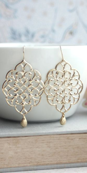 Large Gold Moroccan Filigree Chandelier Drop Dangle Earrings