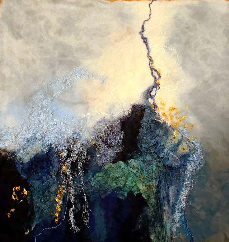 Rae Woolnough, Textile Artist. Blue Fracture. #fibre #felt #textile #handmade #handcrafted #artist #australianart #home #decor