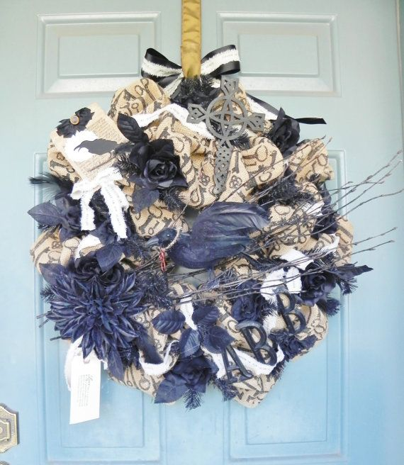 CUSTOMIZE Shabby Chic Halloween Wreath Burlap by RedRobynLane, $199.95 AWESOME! LOVE IT!!!!!!!