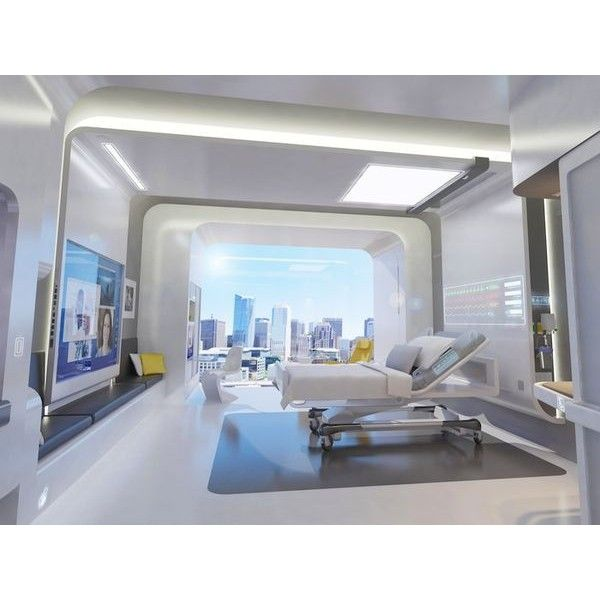 This Hospital Room of the Future is Designed for Better Care ❤ liked on Polyvore featuring hospital, home and rooms